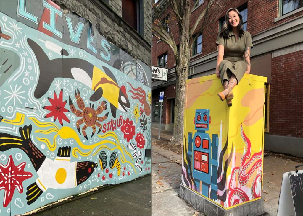 """Left: Mural painted by Stevie Shao depicting local PNW wildlife and phrases like """"What's Good"""" and """"Take Care""""; Right: Stevie Shao posing atop a utility box she painted in Ballard."""